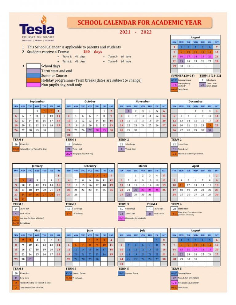School Calendar for Academic Year